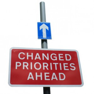 A traffic signpost showing changed priories ahead and a one way arrow