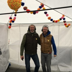 Martin and James at a silent disco at the Happiness Museum